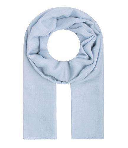 Majea Tuch Lima schmal geschnittenes Damen-Halstuch leicht uni einfarbig dünn unifarben Schal weich Sommerschal Übergangsschal, Hellblau, 180cm x 50cm