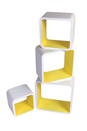 Mensola da Muro Libreria Scaffale Vari Colori retrò Cubi Moderno LO02 (Bianco/Giallo)