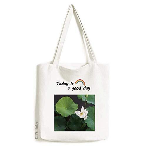 Bolsa de lona fresca de flores de loto con imagen de plantas y flores, lavable, para compras