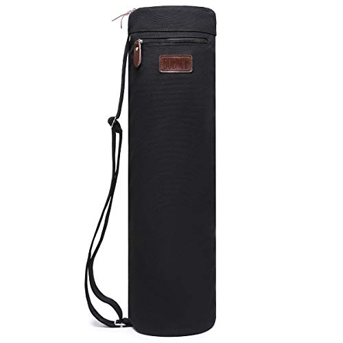 Boence Yoga Mat Bag, Full Zip Exercise Yoga Mat Sling Bag with Sturdy Canvas, Smooth Zippers, Adjustable Strap, Large Functional Storage Pockets - Fits Most Size Mats (Black)