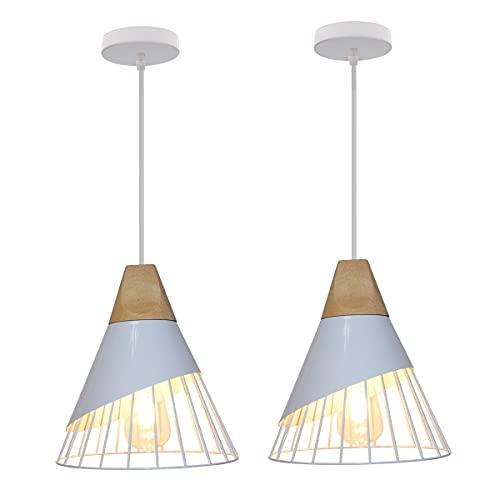 Lámpara Colgante Moderna Estilo 25cm, TOKIUS LED Lámpara de Techo Interior Creativa Jaula de Hierro y Madera E27 Iluminación Araña para Dormitorio Sala Comedor (Blanco, 2 Piezas)