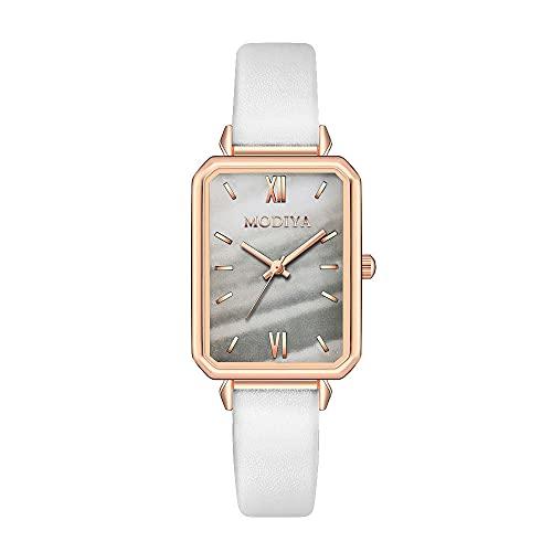 YSKCSRY Reloj Decoración Temperamento Retro Reloj para Mujer Cuadrado Pequeño Reloj de Pulsera Verde Material de aleación Movimiento de Cuarzo Reloj Pulsera de Cuero de imitación
