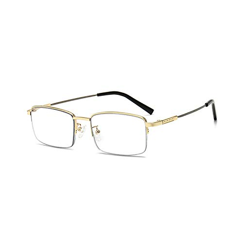 LGQ Gafas de Lectura Inteligentes, Lente multifocal fotocromática, Marco Comercial de aleación, Gafas de Sol para Exteriores con luz Anti-Azul, dioptrías de +1,00 a +3,00,Oro,+2.00