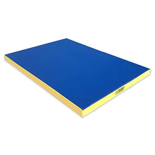 NiroSport Turnmatte 150 x 100 x 8 cm Gymnastikmatte Fitnessmatte Sportmatte Trainingsmatte Weichbodenmatte wasserdicht Blau/Gelb
