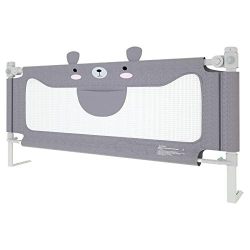 NAIZY Rausfallschutz Bett 200cm Bettgitter Baby Bettschutzgitter mit Höhenverstellbar Kinderbettgitter für Kinderbetten, Elternbetten und Alle Matratzen Massivholzbetten - Grau 200cm