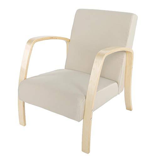 Greensen Retro Sessel mit Holz Armlehne Polstersessel Wohnzimmersessel Einzelsofa Vintage Holzsessel Loungesessel Retro-Sessel mit Rückenlehne für Wohnzimmer Schlafzimmer, Beige