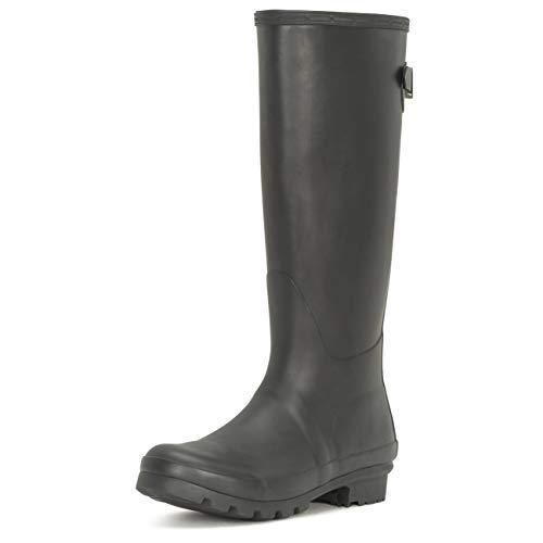 Polar Womens Adjustable Back Tall Winter Rain Wellies Waterproof Wellington Boot - Black - 5-38 - CD0013