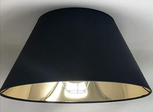 45 cm Schwarzer Lampenschirm, Stoff mit Goldfutter, Handgefertigt, für Tischlampe, Stehlampe