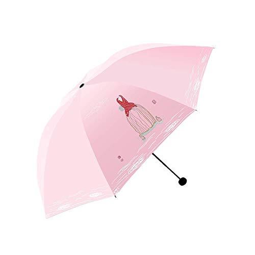 YNHNI Paraguas plegable para mujer, triple pliegue, protección solar, portátil, color rosa