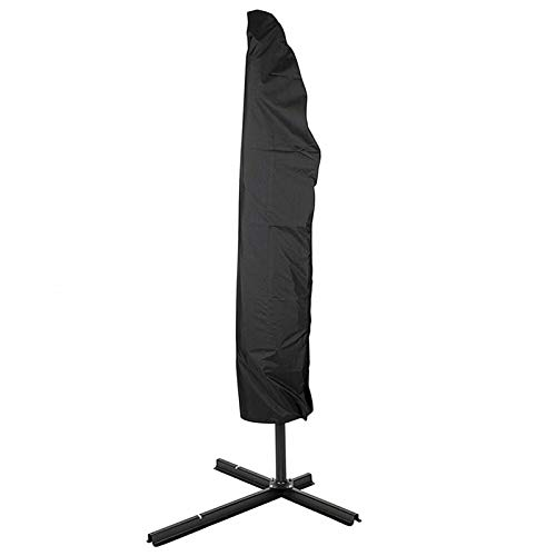 LYRONG 200-280cm Outdoor Patio Umbrella Waterproof Protective Cover with Zipper for Garden Cantilever Parasol Umbrellas Case,Easy to Use (Colour : Black Color, Size : M(205cm))