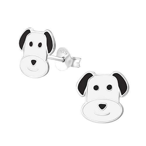 Laimons Orecchini per bambine con cane nero, bianco, in argento Sterling 925