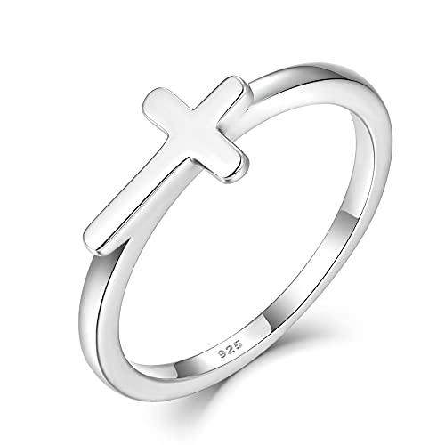 Starchenie Cruz de plata de ley 925 con circonita, anillo religioso cristiano...