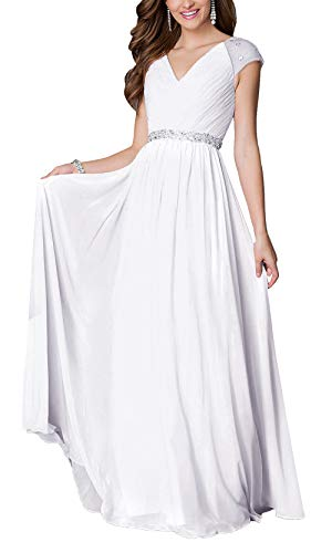 Aox Women Chiffon Floral Lace A Line Rhinestone Wedding Bridesmaid Party Long Dress (18, White 9603)