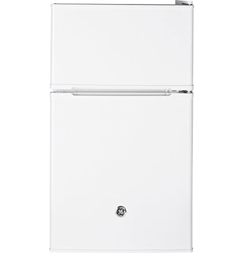 GE Double-Door Mini Fridge, Freestanding Compact Refrigerator with Freezer, 3.1 Cu Ft, White