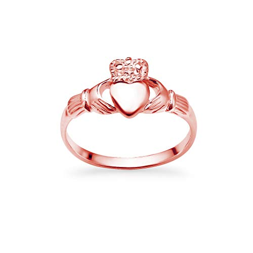 Rose Gold Flashed 925 Sterling Silver Irish Claddagh Crown Love Heart Band   Celtic Friendship Promise Ring Size 7.5