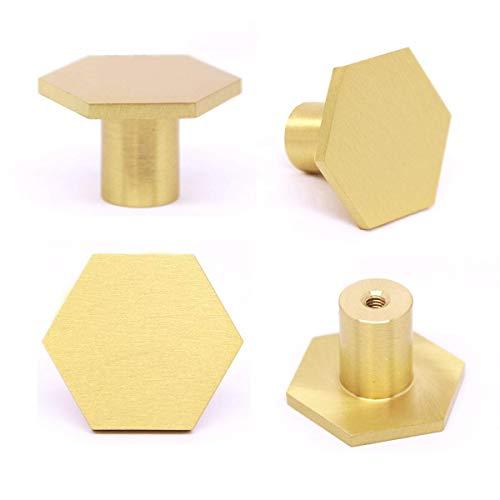 Perillas Hexagonales de latón macizo para Armario,tirador de puerta de un solo agujero, tiradores de cajón de cocina, pomos de gabinete para armario, escritorio(30 mm * 21 mm) (4 Piezas)