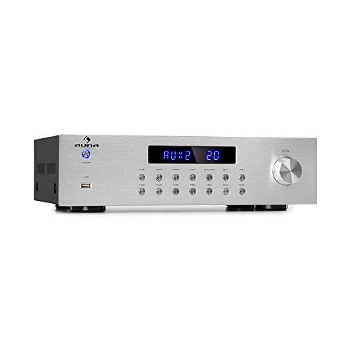 auna AV2-CD850BT - Hi-Fi Stereo-Verstärker, 4-Zonen, 8 x 50 Watt RMS, Bluetooth, USB-Port, 3 x Stereo Cinch-Line-Eingang, Power LED, Funkfernbedienung mit 30 m Reichweite, Silber