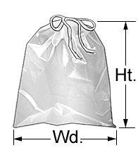 "Drawstring Clear Plastic Bags 2 Mil. moisture resistant. (100, 5""W X 8""H)"