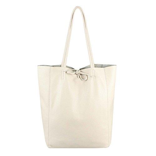 OBC Made in Italy Damen Tasche ECHTES Leder DIN-A4 Shopper Tote Bag Henkeltasche Handtasche Umhängetasche Ledertasche Schultertasche Metallic (Beige 36x40x12 cm)