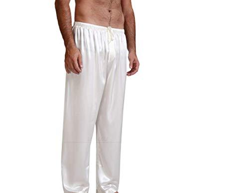 Herren Zweiteiliger Schlafanzug Satin Pyjama Hosen, Klassische Nachtwäsche für Männer Lange Hose (Weiß, S)