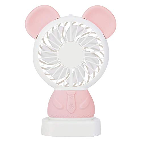 BHDD Ventilador de Mano eléctrico, Mini Ventilador eléctrico de bajo Ruido, Lindo Mini con Forma de Oso para Caminar, Caminar, Escalar, Viajar(Pink)