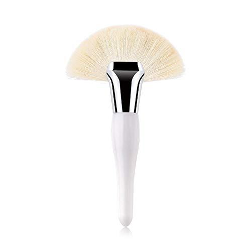 JFFFFWI Brosse de Base Professionnelle Unique, Brosse de Maquillage pour Fard à paupières Advanced Beauty Tools en Forme d'éventail Noir/Blanc (Couleur: Blanc)