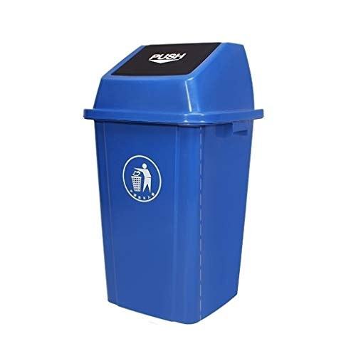 Slät innervägg Soptunna med lock, kan stora Outdoor Yard Trash flera färg Plastic Sorterade soptunna Kapacitet: 60L, 100L Återvinningsbar design (Color : Blue, Size : 100L)
