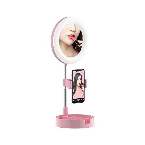 BUSUANZ Luz de maquillaje de escritorio regulable, luz de anillo LED, con espejo y soporte para teléfono móvil, luz de relleno en vivo, adecuado para maquillaje, transmisión en vivo, selfie