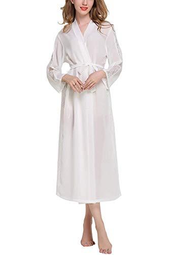 Targogo Dames Jurk Badkleding Mannen Chiffon Kimono Lange Nacht Kant Vintage Warm Shea Nachtkleding Jurk Kimono Negligee Locker pyjama voor Spa Hotel Sauna Bruidsmeisje