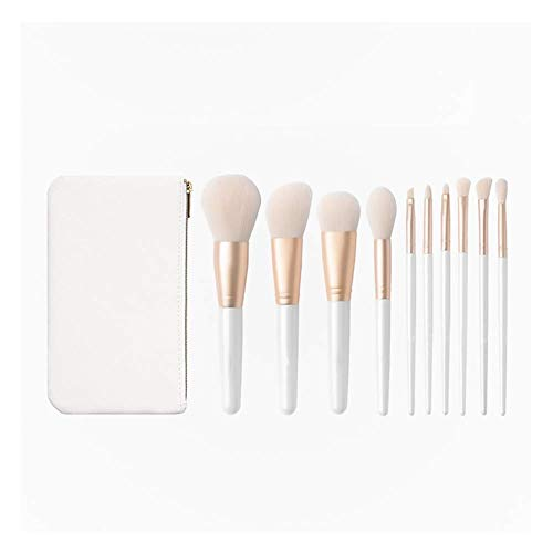 GJJSZ Make Up Brush Kits Fibre Makeup Brush Set Foundation Blush Powder Brushes Fluffy and Soft Durable,10 Pcs (Color:White,Size:10 Sticks)