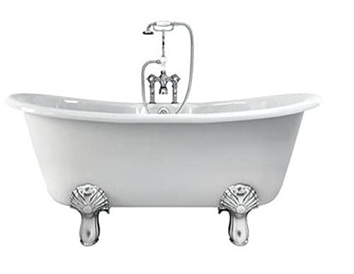 Casa Padrino Jugendstil Badewanne Naturstein freistehend 1700mm BCha Weiß - Freistehende Retro Antik Badewanne, Badewannen Füsse:Standard Classical Schwarz
