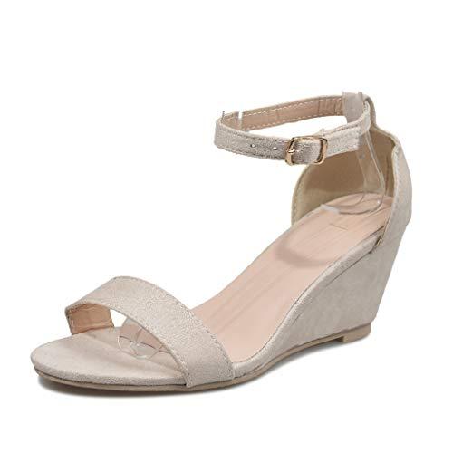 Mujer Moda Peep Toe Gladiator Sandalias Tacones de Aguja Mujer Ancho Medio Bloquear el Talón Ante Correa de Tobillo Casual Zapato Sandalias
