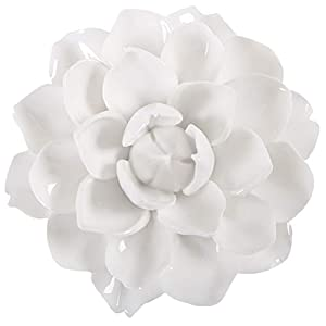 ALYCASO Ceramic Flower Wall Décor Artificial 3D Flower Wall Art for Living Room Home Hallway Bedroom Kitchen Farmhouse Bathroom Dining Room, Snow Lotus, White, 5.12 inch