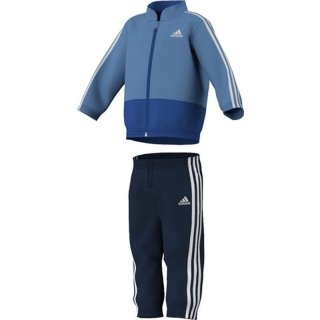 adidas Pantaloni Sportivi per Bambini, Unisex, Jogginganzug 3-Stripes Woven, Top:Joy Blue s13/white/white Bottom :Collegiate Navy/White/White