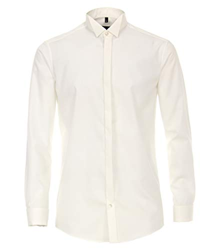 Venti Herren Businesshemd Uni Modern Fit Weißbeige 38