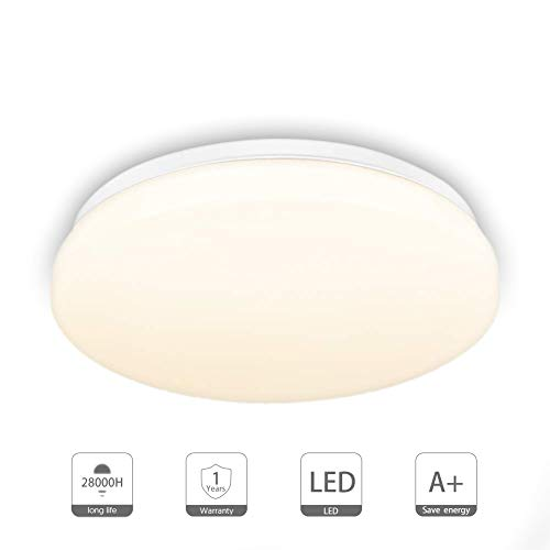 Deckenleuchte, LED Deckenlampe, Deckenleuchte für Bad Schlafzimmer Küche Balkon Korridor Büro Esszimmer Wohnzimmer 18W Natürliches Weiß 1500LM Ø28cm 3000K IP44