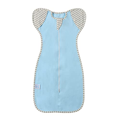 ILuck Baby Swaddle Sack with Arms Up, Arms Free, Gray, Swaddle Blankets, Transition Bag, Baby Sleeping Bag, self-Soothing, Snug fit Calms Startle Reflex, (Blue, Medium(3-6 Month))
