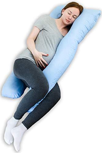 Seitenschläferkissen - Schwangerschaftskissen zum Schlafen - Stillkissen Schwangerschaftskissen - U Kissen Schwangerschaft Seitenschläfer - Lagerungskissen Baby - Baby Stillkissen - Body Pillow (Blau)