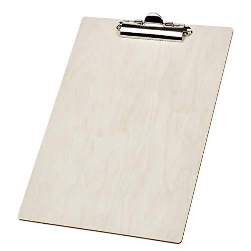 Klemmbrett Holz DIN A4 Klemmplatte Clipboard Schreibunterlage Schreibplatte Designer Schreibunterlage Natur Holz fein geschliffen Handmade