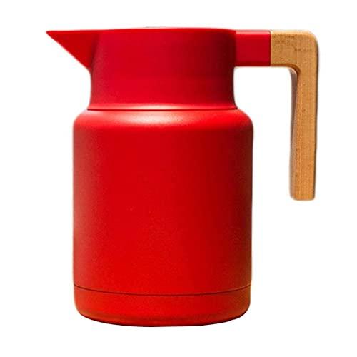 LITINGT Termo de Acero Inoxidable, cacerolas de café, Gran Capacidad, Mango de Madera, para té frío y Caliente café, Cocina, Oficina (Color: A)