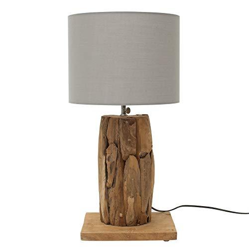 Höhenverstellbare Teakholz Tischlampe ROOTS 70cm grau Treibholz Lampe Tischleuchte Treibholzleuchte Nachttischlampe