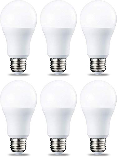 AmazonBasics Lampadina LED E27, 10.5W (equivalenti a 75W), Luce Bianca Calda - Pacco da 6