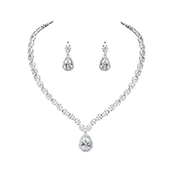 WeimanJewelry Silver/Gold Plated Women Cubic Zirconia CZ Marquise Teardrop Bridal Tennis Necklace and Drop Earring Set for Wedding Brides  Silver
