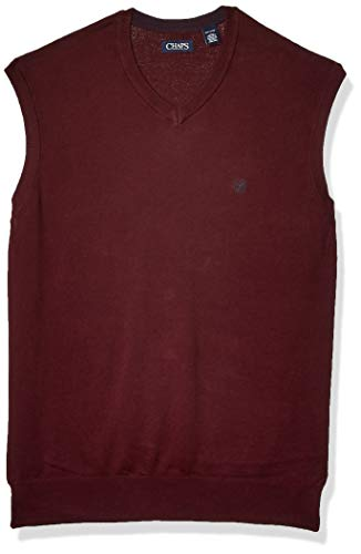 Chaps Men's Big and Tall Cotton V-Neck Sweater Vest, Rich Ruby, XLT