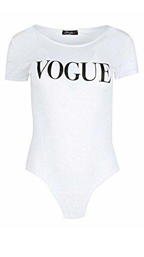 MISS BOHO CHIC MBC-Damen Mädchen Celeb K Kardashian mit Flügelärmeln Vogue Druck Bodysuit Leotard-Shirt Spitze S-L(T/M (S/M, Weiß)