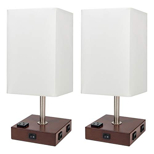 DEEPLITE Set of 2 Table Lamp / Bedside Lamp - 2 USB Charging Ports and 2-Prong/3-Prong AC Outlets - Perfect for Bedrooms, Nightstands, End/Side Table, Office, Living Room