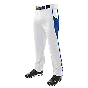 CHAMPRO Triple Crown OB2 Open-Bottom Loose Fit Baseball Pants with Adjustable Inseam and Reinforced Sliding Areas White,Royal Small