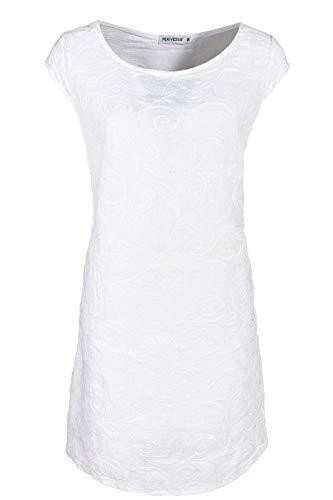 PEKIVESSA Damen Leinenkleid Häkel-Stickerei Sommerkleid Weiß 40 (Herstellergröße L)