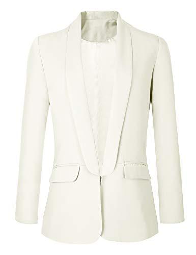 Urban GoCo Mujeres Blazers Chaqueta de Traje Slim Fit Elegante Oficina Negocios Outwear (XX-Large, Blanco)
