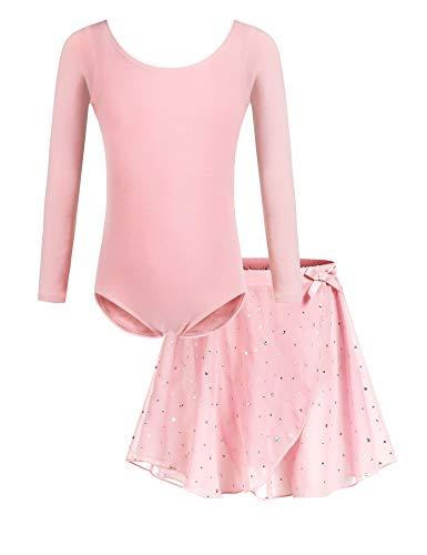 Bricnat Mädchen Ballettkleidung Ballettkleid Tanzbody Gymnastikanzug Balletttrikot Langarm Tanzkleid mit Tütü Kinder Baumwolle Rosa pink 150